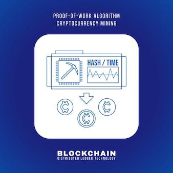 Disegno di contorno vettoriale blockchain prova di lavoro algoritmo criptovaluta principio di estrazione pow spiegare schema illustrazione icona quadrata arrotondata bianca isolato sfondo blu
