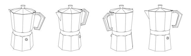 Illustrazione di contorno vettoriale di diverse viste prospettiche della caffettiera moka