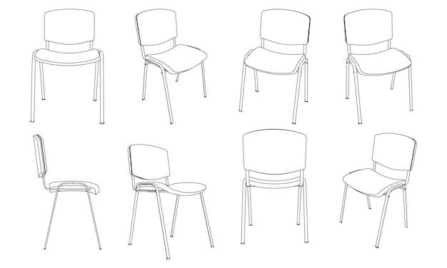 Illustrazione vettoriale di contorno della sedia per visitatori dell'ufficio, set di viste diverse