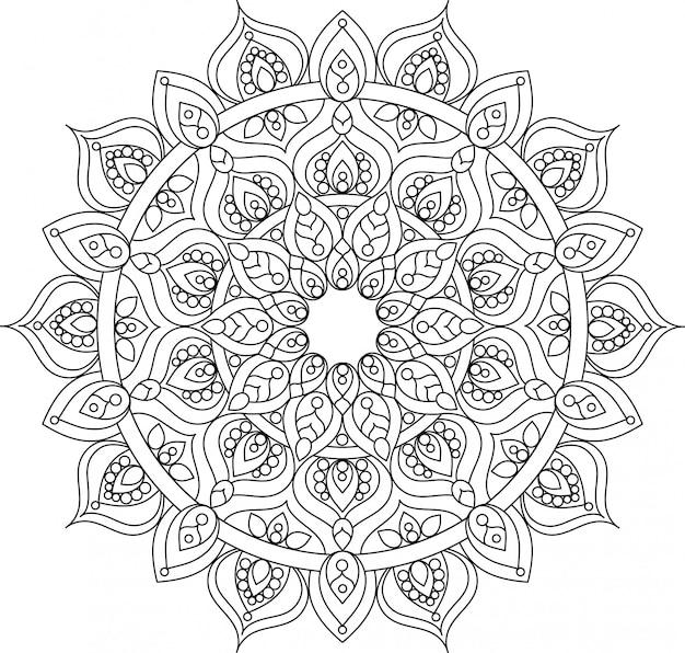 Illustrazione di mandala ornato di contorno vettoriale