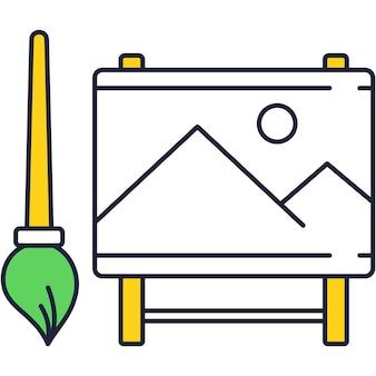 Disegno dell'icona piatto pennello vettoriale e cavalletto