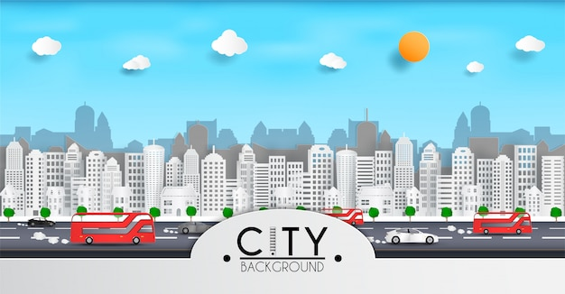 Taglio di carta vettoriale e paesaggio urbano con edifici e una casa o villaggio e traffico di auto all'interno della città e rappresenta la città in europa
