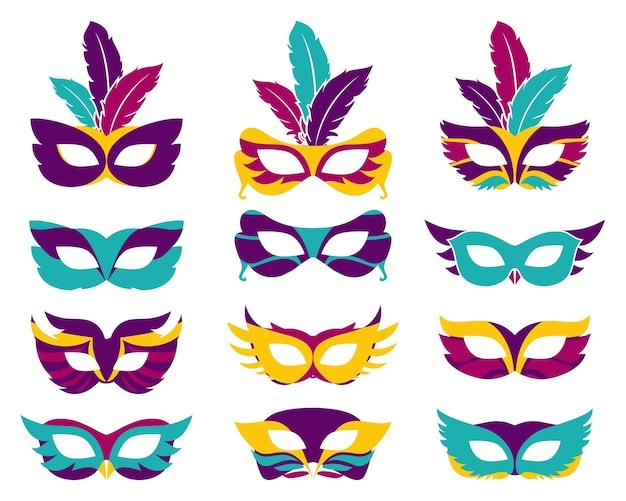 Set di maschere di partito di vettore. sagoma maschera, teatro e mistero, travestimento di moda