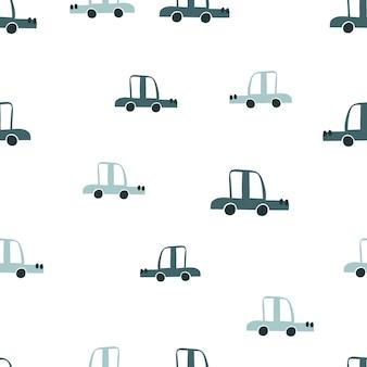 Automobili scandinave di doodle di colore pastello di vettore modello del neonato senza cuciture