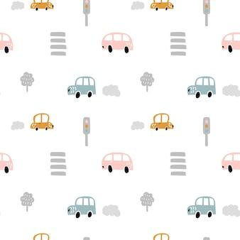 Automobili scandinave di doodle di colore pastello di vettore con strisce pedonali e semafori. modello bambino senza soluzione di continuità
