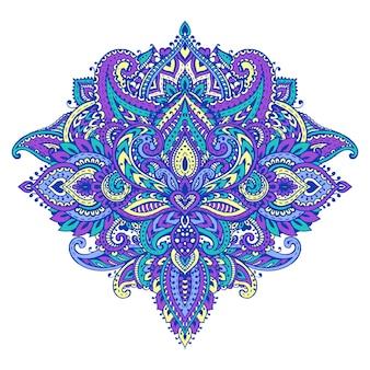 Modello vettoriale di elementi floreali all'henné basati su ornamenti tradizionali asiatici. illustrazione di paisley mehndi tattoo doodle in colori vivaci