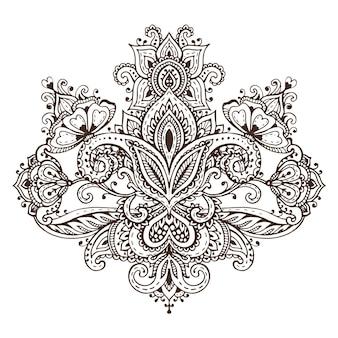 Modello vettoriale di elementi floreali all'henné basati su ornamenti tradizionali asiatici. illustrazione di paisley mehndi tattoo doodle