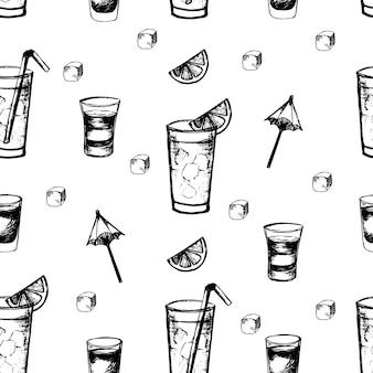 Modello vettoriale con cocktail alcolici e frutta a fette elementi disegnati a mano per menu estivo