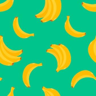 Modello vettoriale con motivo di frutti tropicali di banane gialle brillanti per cartoline di magliette