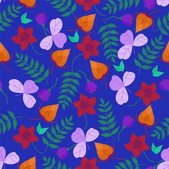 Reticolo di vettore con fiori disegnati a mano e foglie su sfondo blu. reticolo senza giunte di vettore