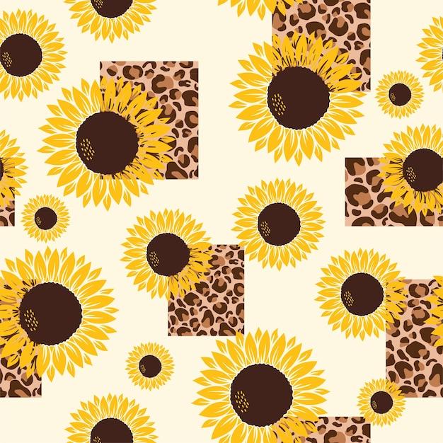 Reticolo di vettore con girasoli gialli su un giallo con stampa leopardo su sfondo bianco.