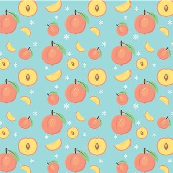 Vettore di pesche e pattern di frutta