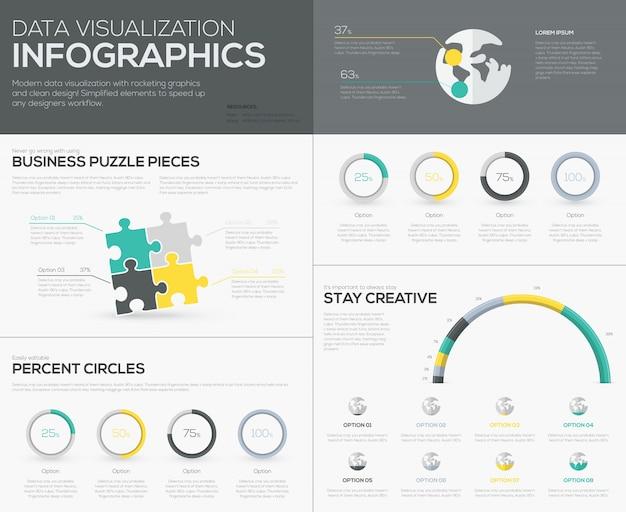 Infografici di percentuali vettoriali per la visualizzazione creativa dei dati