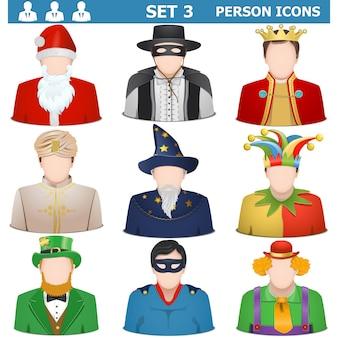 Set di icone di persona vettoriale 3 isolato su sfondo bianco