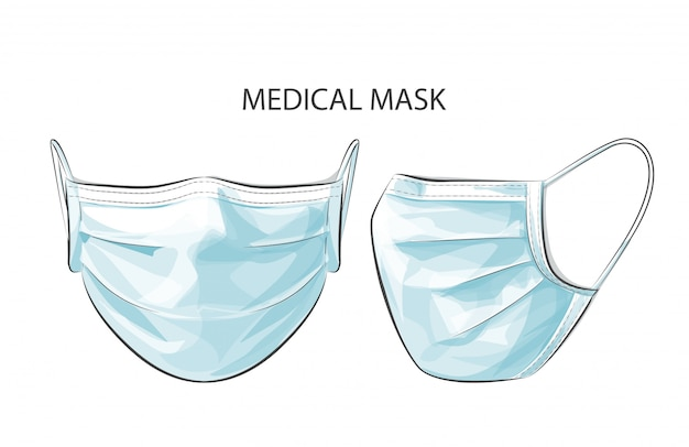 Vector la persona che indossa la maschera di protezione chirurgica medica a gettare per proteggere dalla città di inquinamento tossico dell'aria alta