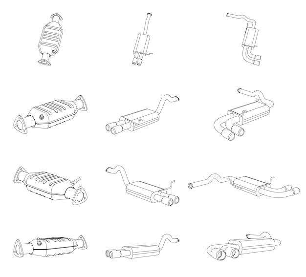 Illustrazione del contorno prospettico vettoriale del tubo di scarico dell'auto e del sistema di conversione catalitica - line art