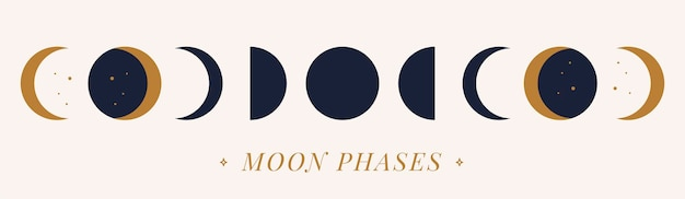 Fasi vettoriali di una luna dorata su uno sfondo nudo. illustrazione disegnata a mano.