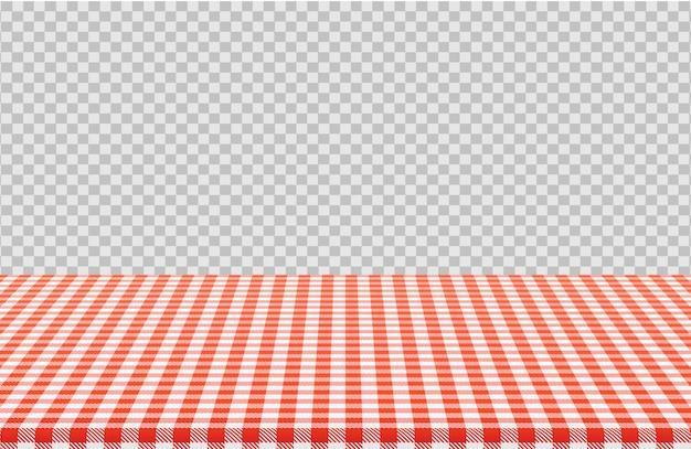 Tavolo da picnic vettoriale con motivo a scacchi rosso della tovaglia di lino isolato su trasparente