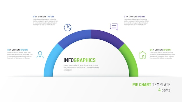 Modello di infografica grafico a torta vettoriale sotto forma di semicerchio diviso in quattro parti