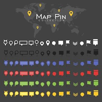 Vector pin mappa icona segno simbolo posizione colorata retro piatto ombra collezione