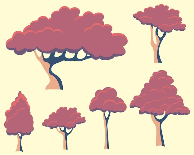 Set di alberi autunnali rosa vettoriali sakura giapponese