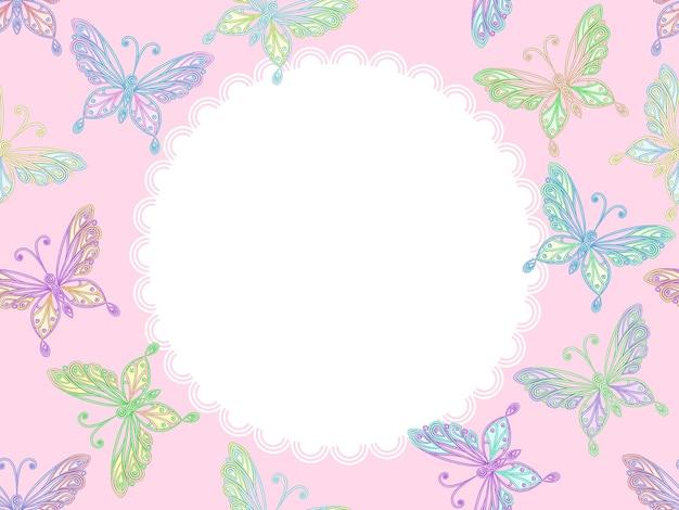 Cornice in pizzo floreale rosa vettoriale con farfalle