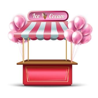 Icona di cabina negozio di apertura gelato rosa vettoriale con palloncini.