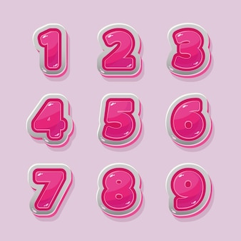 Numeri rosa vettoriali per la progettazione grafica e del gioco
