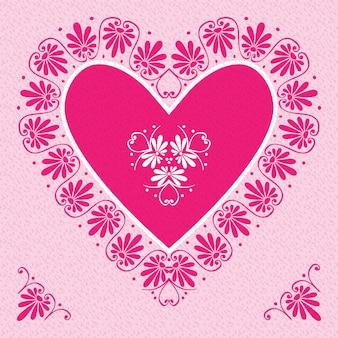 Biglietto di san valentino vettoriale rosa con cuori di fiori