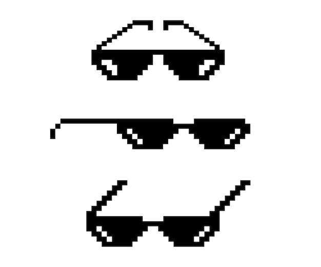 Occhiali pixel vettoriali. stile artistico a 8 bit. progetta foto e immagini, facili da modificare. illustrazione vettoriale