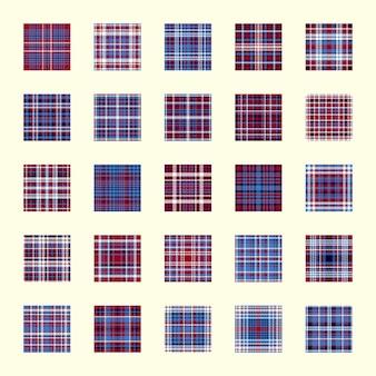 Struttura del plaid di vettore. impostare il motivo geometrico senza soluzione di continuità. fondo piatto di colore blu, rosso, bianco.