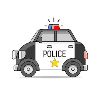 Illustrazione piana di vettore dell'automobile della polizia di vettore isolata su cenni storici bianchi. elemento di design disegnato a mano per etichetta e poster