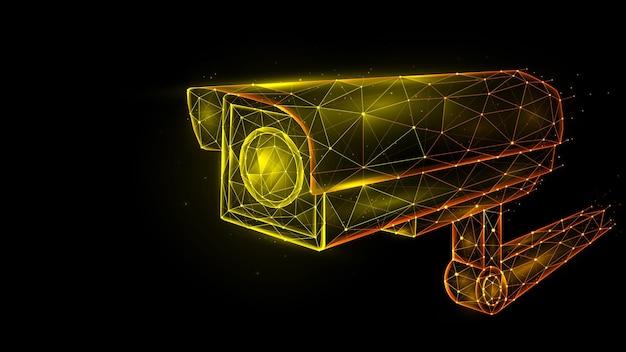 Illustrazione poligonale vettoriale di telecamera di sicurezza, telecamera cctv, sistema di videosorveglianza.