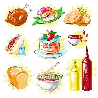 Set di patch di cibo stile fumetto pop art di vettore
