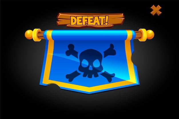 Bandiera di sconfitta pop-up vettoriale per il gioco. banner appeso con un teschio e l'iscrizione perdi.