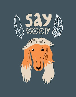 Ritratto di vettore di borzoi cartoon illustrazione con foglie di cane e scritte say woof