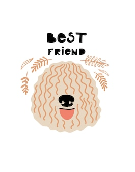 Ritratto di vettore di komondor cartoon illustrazione con cane e testo best friend