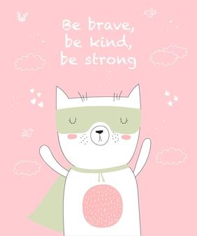 Cartolina vettoriale con disegno a tratteggio animale supereroe con slogan cool doodle illustrazione