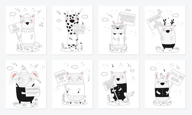 Collezione di poster vettoriali con animali divertenti dei cartoni animati con trasparenze