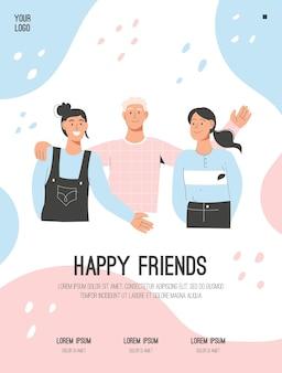 Manifesto di vettore del concetto di happy friends
