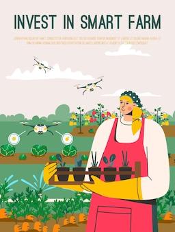 Manifesto di vettore di investire nel concetto di smart farm