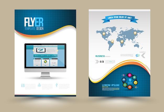 Modelli di poster di vettore con il sito web sul computer Vettore Premium