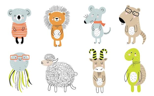 Manifesto di vettore con animale carino cartone animato per bambini e slogan divertente in stile scandinavo. zoo grafico disegnato a mano. perfetto per baby shower, cartoline, etichette, brochure, volantini, pagine, banner design.