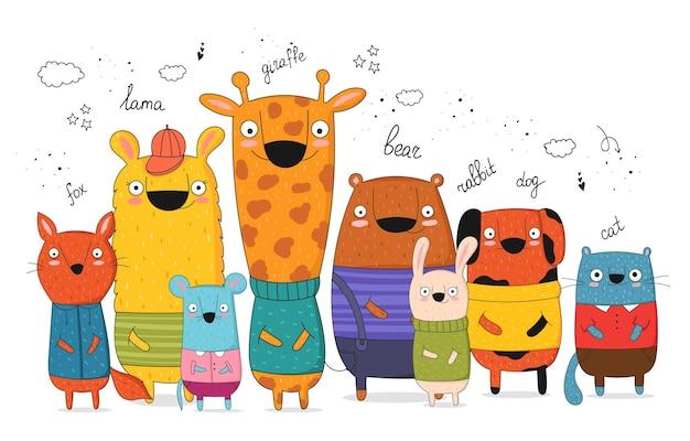Manifesto di vettore con lo slogan animale divertente e hipster del fumetto zoo grafico disegnato a mano