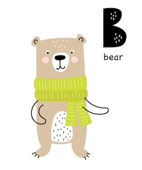 Poster vettoriale con lettera dell'alfabeto con animale dei cartoni animati per bambini in stile scandinavo
