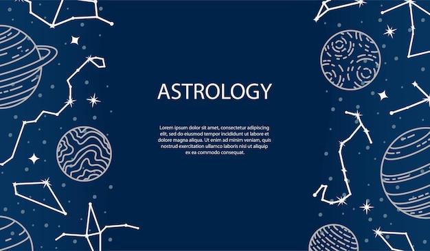 Manifesto di vettore con pianeti e costellazioni. sfondo astrologico. un modello con spazio per il testo.