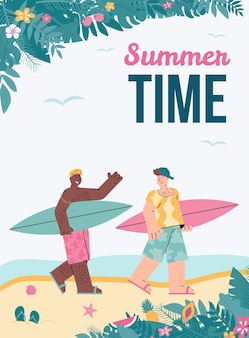 Poster vettoriale con giovani amici maschi che si godono il surf in estate