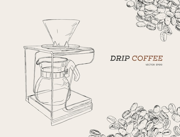 Illustrazione di vettore versare sopra caffettiera.