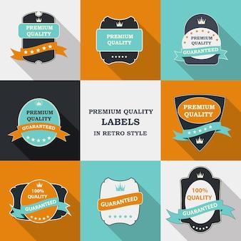 Set di etichette vettoriali di qualità premium in un design piatto moderno con una lunga ombra. illustrazione