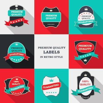 Set di etichette vettoriali di qualità premium in un design piatto moderno con ombra lunga. illustrazione vettoriale eps10